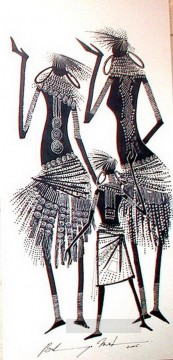 African Painting - three Bulinya African