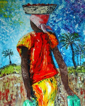 African Painting - woman in textures African