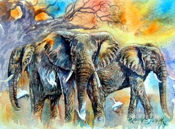 Elephants African Oil Paintings