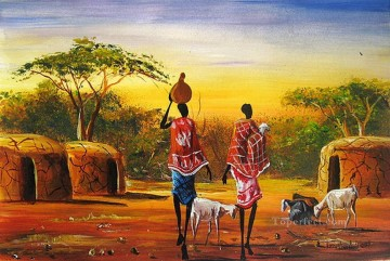 African Painting - Carrying Milk African