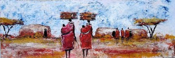African Painting - Carrying Wood and Children to Manyatta African