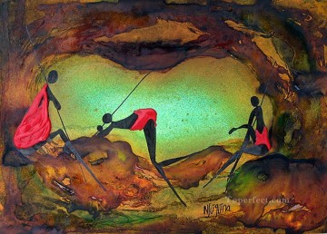 Cave Comfort African Oil Paintings