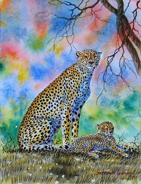 Cheetah and Cub African Oil Paintings