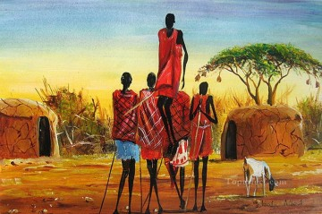 Dancing Maasai African Oil Paintings