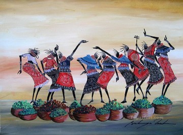 African Painting - Dancing with Greens African