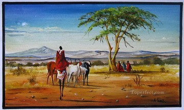 African Painting - Finding Friends from Africa