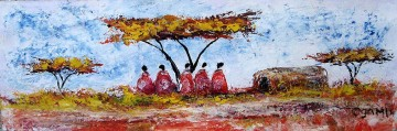 African Painting - Five Maasai Under Acacia from Africa