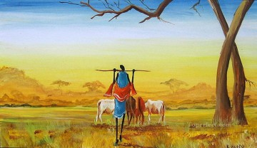 Herding Cattle from Africa Oil Paintings