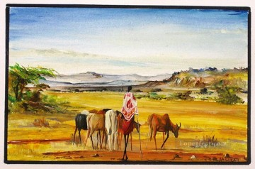 African Painting - Herding in the Rift from Africa