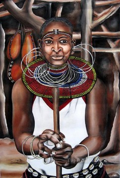 African Painting - Jared Tugen Woman from Africa