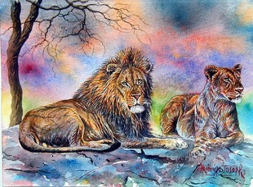Large Lion and Lionesse from Africa Oil Paintings