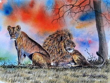 Lion and Lioness from Africa Oil Paintings