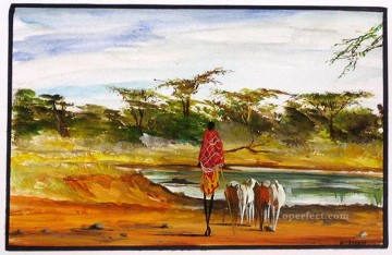 Looking for Water from Africa Oil Paintings