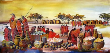 Maasai Market from Africa Oil Paintings