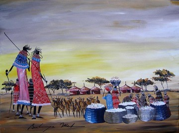 women Painting - Maasai Women with Baskets and Goats from Africa
