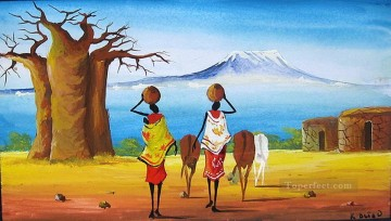 Manyatta Near Kilimanjaro from Africa Oil Paintings