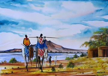 Manyatta Near Lake from Africa Oil Paintings