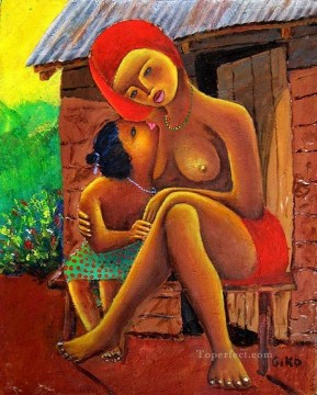 African Painting - Mother and Lovechild from Africa