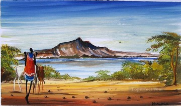 African Painting - On the Beach from Africa