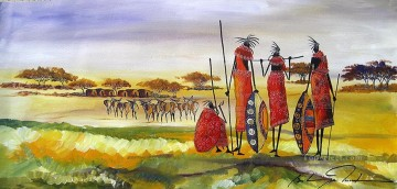 African Painting - Overlooking Homestead from Africa