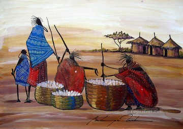African Painting - Preparing a Feast from Africa