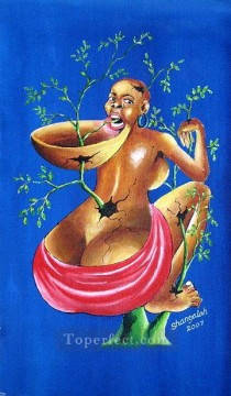 Nature Painting - Shangala Human Destruction by Nature from Africa