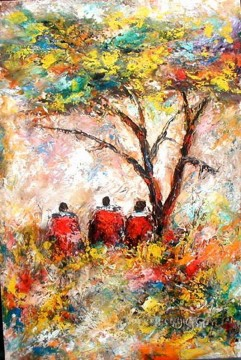 African Painting - Sitting Under Tree from Africa