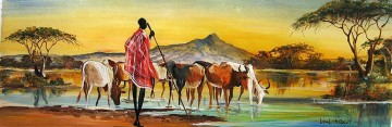 Sunset over Herd from Africa Oil Paintings