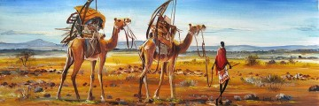 African Painting - Trek with Camels from Africa