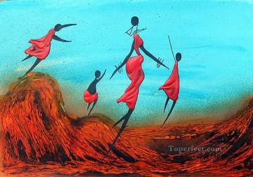 Walking with Children from Africa Oil Paintings