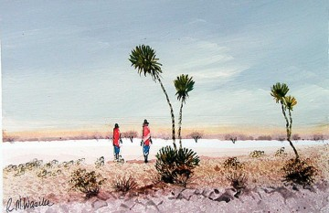 African Painting - Wasike Two Maasai with Palm Trees from Africa