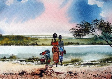 African Painting - Wasike Washing Clothes from Africa