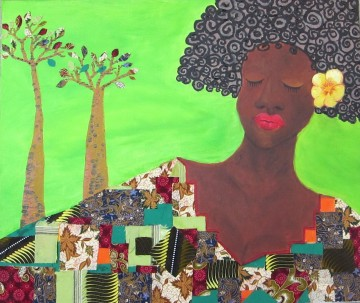 black woman and tree in green decor pattern African Oil Paintings
