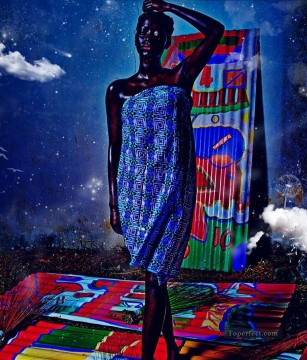 African Painting - black woman textured African