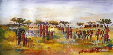 African Oil Painting - eciding to Move African