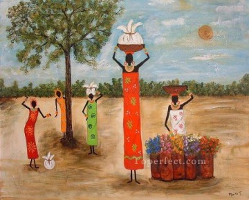 maite tobon girls helping mom from Africa Oil Paintings