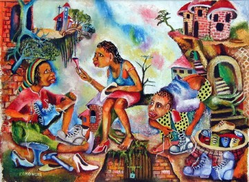 African Painting - shoes out from Africa