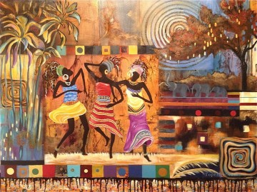 textured African life Oil Paintings
