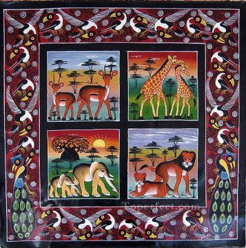 African Oil Painting - wildlife on African grasslan