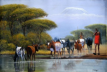 African Painting - Crossing River from Africa