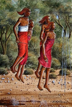 Ndeveni Maasai Morans Dancing Near the Forest from Africa Oil Paintings