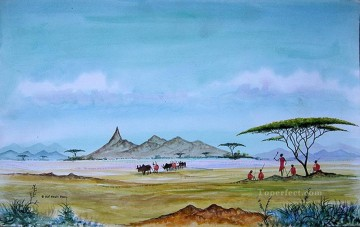 Ole Samburu Coucil of Elders from Africa Oil Paintings
