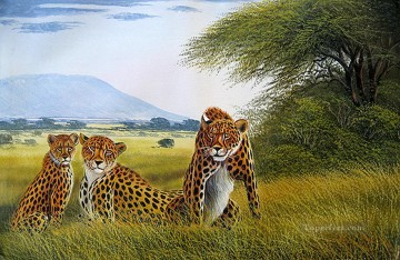 wanjeri cheetah family from Africa Oil Paintings