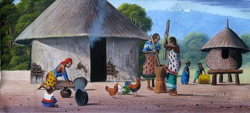 African Painting - Mugwe Kikuyu Homestead from Africa
