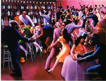 wine pub pubs folies bars nighthawks Painting - black pub from Africa