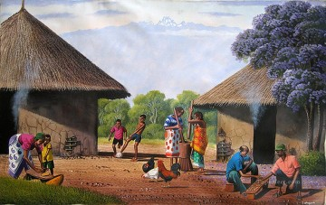 African Painting - Traditional Homestead from Africa