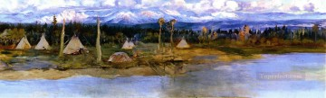 American Indians Painting - kootenai camp on swan lake unfinished 1926 Charles Marion Russell American Indians