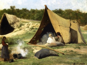 American Indians Painting - Indian Camp luminism landsacpes Albert Bierstadt
