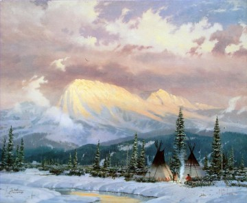 Lingering Dusk Thomas Kinkade American western Indians camp landscape Oil Paintings