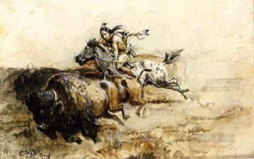 buffalo hunter Charles Marion Russell American Indians Oil Paintings